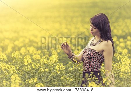 Beautiful Woman In Meadow Of Yellow Flowers Looking At Flower