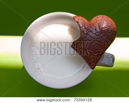 Cup of milk and chocolate