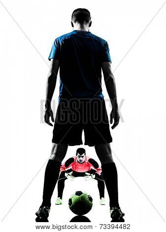 two  soccer player goalkeeper men face to face competition in silhouette isolated white background
