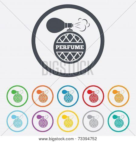 Perfume bottle sign icon. Glamour fragrance.