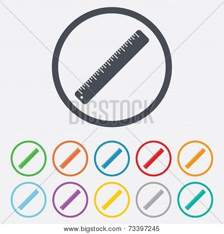 Ruler sign icon. School tool symbol.