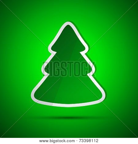 Merry Christmas card with simple green tree
