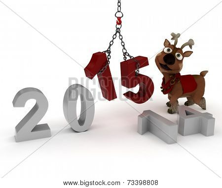 3D Render of Reindeer celebrating new years