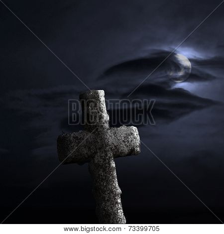 Stone Cross On Dramatic Sky
