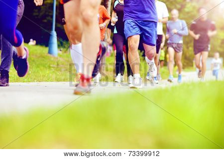 Unidentified marathon racers running