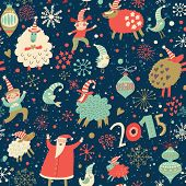 stock photo of christmas claus  - Stylish Merry Christmas seamless pattern with Santa Claus - JPG