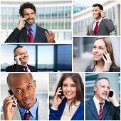 picture of people talking phone  - Group of business people talking on the phone - JPG