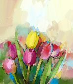 pic of impressionist  - Abstract Tulips flowers oil painting - JPG