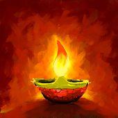 picture of diya  - vector illustration of holy diya for Diwali festival - JPG