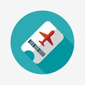 picture of aeroplane  - Air Ticket Flat Icon With Long Shadow - JPG