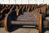 stock photo of train-wheel  - train wheel pair abstract background - JPG