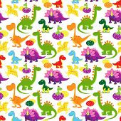 picture of dinosaurus  - vector baby dinosaurs seamless pattern - JPG