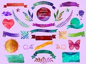 foto of butterfly  - Watercolor Banners - JPG