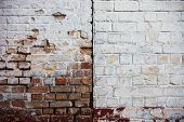 foto of mortar-joint  - Old whitewashed brick walls with rich texture - JPG