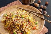 stock photo of chinese restaurant  - Fried Rice with Vegetables and fried eggs  - JPG
