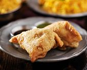 picture of samosa  - indian samosa with mint and hot chutney close up - JPG
