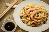 stock photo of chinese wok  - chinese fried rice with prawn on white plate - JPG