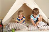 image of teepee  - children playing at home with a teepee tent - JPG