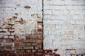 stock photo of mortar-joint  - Old whitewashed brick walls with rich texture - JPG