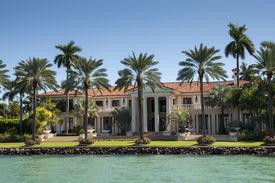 stock photo of mansion  - Luxurious mansion on Star Island in Miami Florida USA - JPG