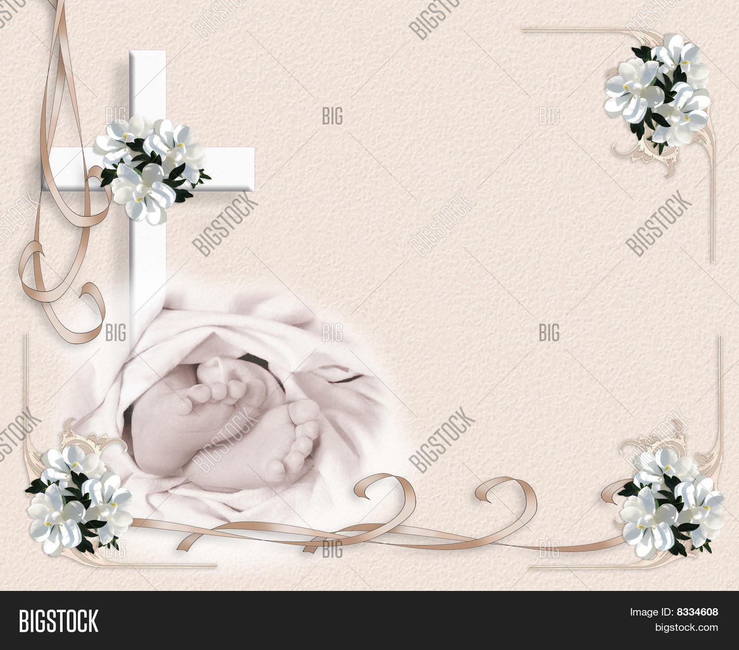 Baby Baptism Invitation Template Image Photo Bigstock