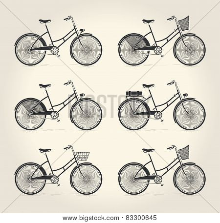 Vector illustration of ladies vintage bicycle