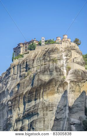 The famous Meteora monastery above the city of Kalampaka, Greece