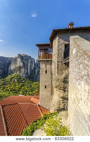 Ancient Monastery on a rocky mountain in Greece