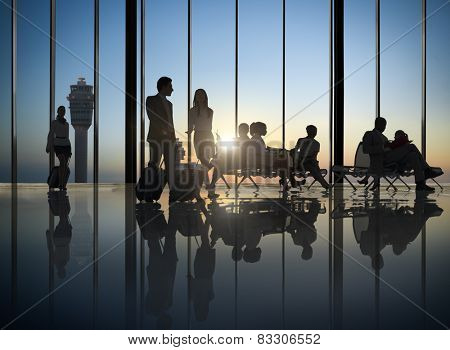 Business People Waiting Airport Business Trip Travel Destination