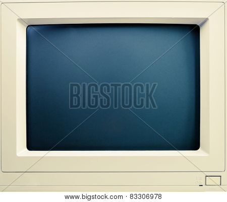 Vintage cathod ray tube computer screen close-up