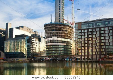 LONDON, UK - NOVEMBER 29, 2014: Building site on in the Canary Wharf. 46 level residence tower going