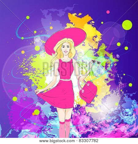 fashion woman in pink dress, hat and stocking over colorful pain splash