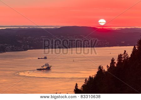Landscape Sunset Scenery, Norway Fjord