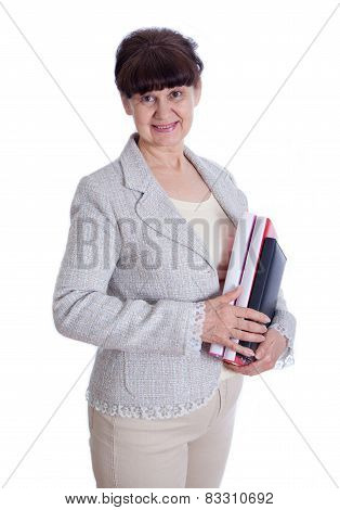 Aged woman posing like an office worker, administrator, secretary. Portrait against of white backgro