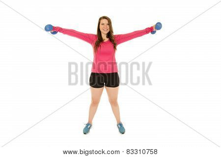 Young Brunette Woman Lifting Barbells Arms Extended