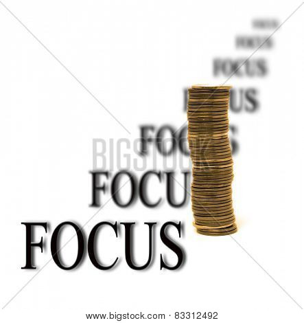 Whitebackground with money for business focus on success