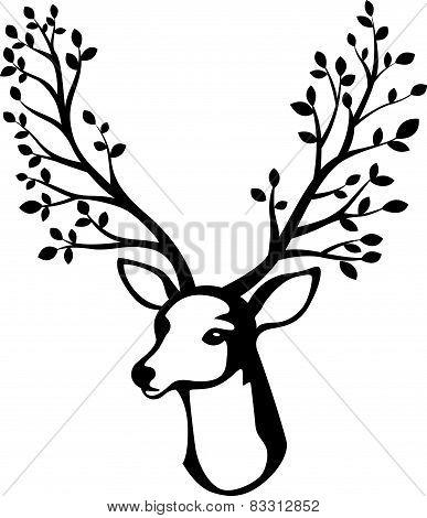 Deer head cartoon with tree branch horn