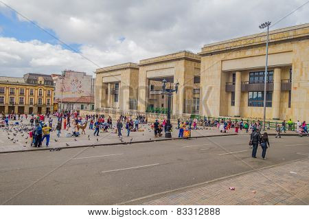 Palace of Justice a cultural and historical landmark in Plaza Bolivar, Bogota, Colombia