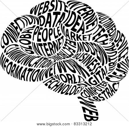 Conceptual abstract word cloud in brain form