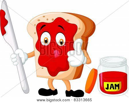 Cartoon slice of bread with jam giving thumbs up
