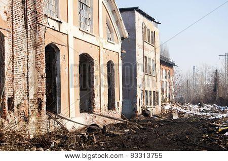 Ruins of old factory facade