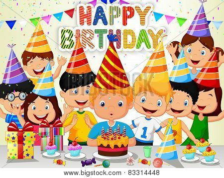 Happy boy cartoon blowing birthday candles with his friends