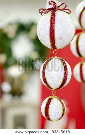 Christmas White balls with red ribbon