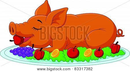 Cartoon drilled suckling pig on a plate