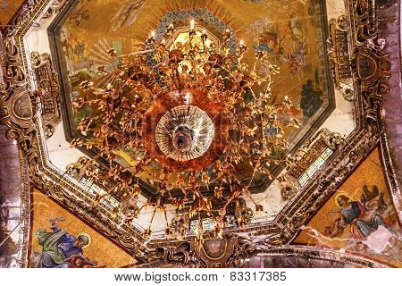 Dome Chandelier Mosaics Old Basilica Guadalupe Mexico City Mexico