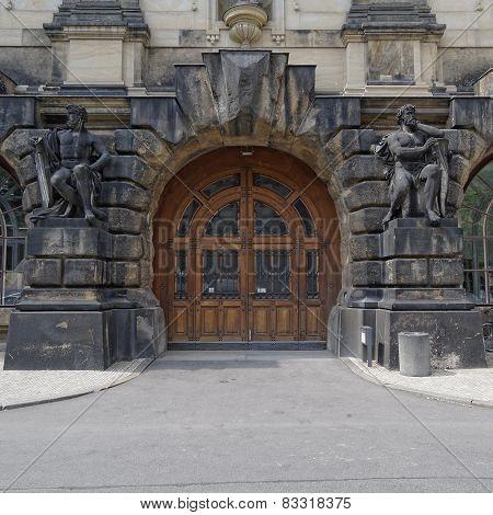 vintage door and statues Dresden Germany