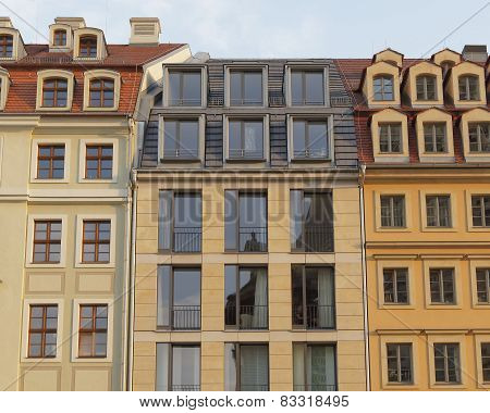 Vintage house facades, Dresden Germany