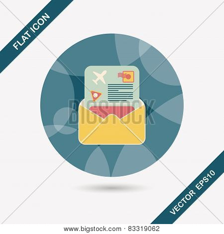 Mail Air Ticket Flat Icon With Long Shadow