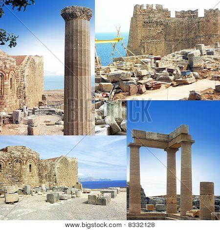 Greece Rhodes Lindos Acropolis.