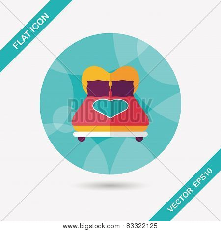 Valentine's Day Lover Bed Flat Icon With Long Shadow,eps10